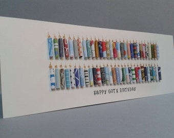 Large 60th Birthday Candle Card, Can be Personalised with a name. Can be customised to 61,62,63,64,65,66,67,68,69.