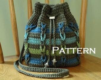 Crochet PATTERN Chain Stripe Drawstring Bag DIY Crossbody Bag