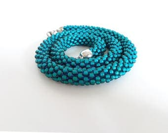 Teal Necklace // Beaded Rope Necklace // Bead Crochet Necklace // Blue Crocheted Choker // Teal Short necklace // Green Necklace