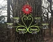 Scrolled Iron Bird Feeder - Lime Fence Decor - Garden Yard Art - Metal Yard Art - Bird Watching - Bird Lover - Birthday
