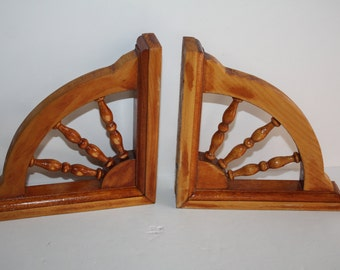 Pair (2) Vintage Wooden Wheel Design Shelf Brackets