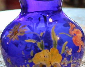 Handpainted floral Blue Cobalt Vase