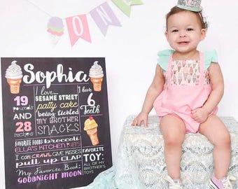 Ice Cream romper, ice cream birthday outfit, ice cream bubble, ice cream party, first birthday outfit, ice cream dress, ice cream, party