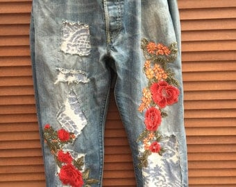 Made to Order RitaNoTiara vintage customised Levis jeans all sizes Embroidered patched patch roses floral denim damask mid west prairie boho