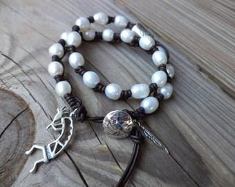 Kokopelli Bracelet Kokopelli Jewelry Leather Bracelet Pearl Bracelet Knotted Leather Bracelet Pearl Jewelry Tribal Southwest Jewelry
