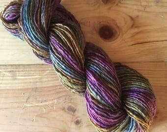 Handspun Yarn, Art Yarn, Bulky, Thick and Thin, Single Ply, Wool, Merino, Tencel, Abigail