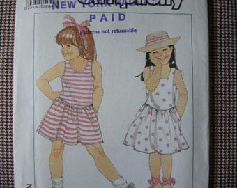 vintage 1980s simplicity sewing pattern 9232 UNCUT girls pullover dress in two lengths size 3-4-5