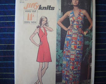 vintage 1970s simplicity sewing pattern 5558 jiffy knit halter dress in two lengths size 12
