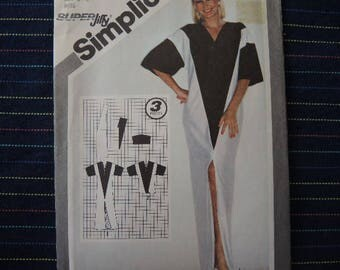 vintage 1980s Simplicity sewing pattern 9919 misses super jiffy pullover caftan or coverup size 6-8