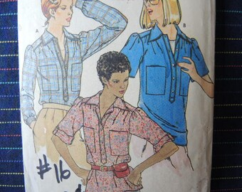 vintage 1980s Butterick sewing pattern 6273 misses shirt size petite-small-medium