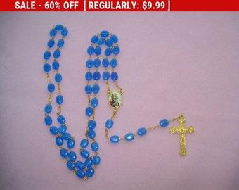 vintage Graymoor blue plastic bead rosary