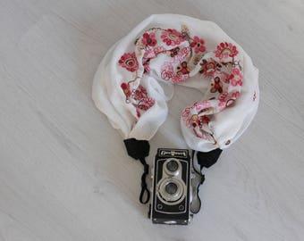 Scarf camera strap Camera scarf strap Fabric camera strap White camera strap DSRL camera strap Photographer accessories Camera accessories