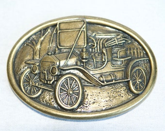 Vintage car belt buckle...Model T buckle...buggy buckle...automobile buckle...Avon.