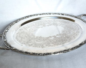 Vintage silver plate tray with handles...WM Rogers & Son Victorian Rose tray...1980.