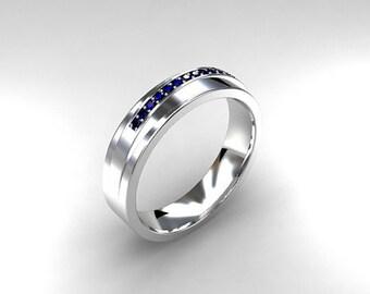 Wide blue sapphire wedding band, white gold, yellow gold, rose gold, man sapphire ring, blue wedding band, modern, wedding, unique, man