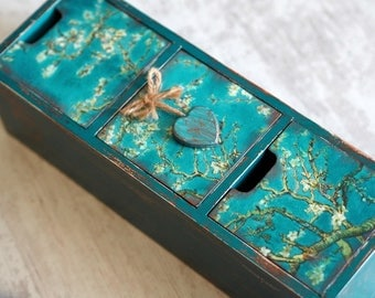 Art Gift Box, Jewelry Box, Tree Box, Wooden Keepsake Box, Turquoise Jewelry Box, Drawer Jewelry Box, Drawer Box, Chest Drawer, Van Gogh Gift