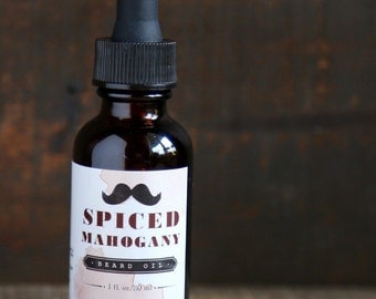 Spiced Mahogany Beard Oil - Handmade in Alaska, Gift for Him, Gift for Dad, Gift for Husband, Beard Moisturizer, Bearded Man, Manly Gift