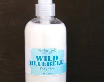 Wild Bluebell Body Lotion, Handmade in Alaska, Hand Lotion, Body Butter, Gifts for Her, Body Moisturizer, Gift for Mom, Valentine's Day Gift