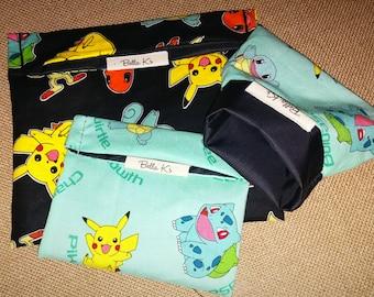 you pick, set of 3 , 2 reusable snack bags, 1 sandwich bag, pokemon go, reusable goods, eco friendly, snack bags, sandwich bag, pokemon