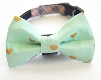 Mint And Gold Hearts Dog Bow Tie Collar Attachment