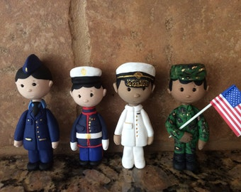 Polymer clay military man with flag,Army,Navy,Marine,Air Force cake topper,ornaments,Christmas decor,African American male,