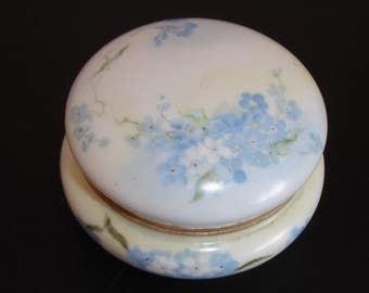 French Trinket box, French Porcelain Trinket box, blue and white, Elite fine French Porcelain, Vintage trinket box, 1900s, Collectible