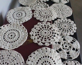 BEAUTIFUL Vintage Crochet Coasters and Holder, Set of 14 hand made crocheted coasters,Doily Coasters,shabby chic coasters,hand made coasters