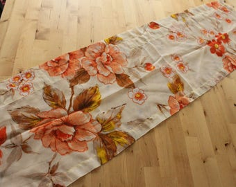 """5 available 1970's Retro Valance Curtains , Vintage Valances Handmade Yellow, Peach, Red Flowers, 44"""" wide 12"""" long"""