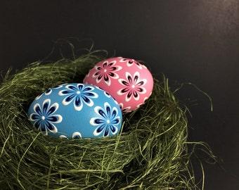 Easter Eggs, Set of 2 Pysanky Eggs in Blue and Pink, Wax Embossed Easter Egg, Polish Pisanka, Drop Pull Eggs