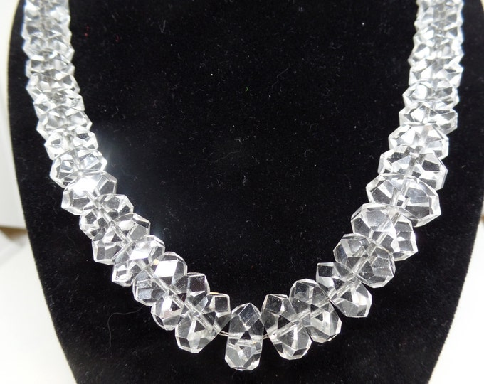 Gorgeous Vintage ART DECO Graduated Faceted Crystal Necklace