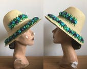 1960s Straw Bucket Hat, Sun Hat with Raffia Flowers in Blue, Turquoise and Green
