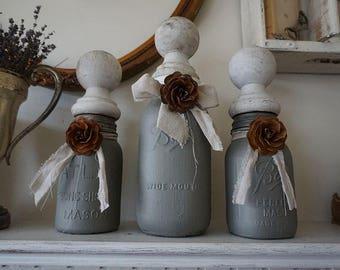 Gray mason jar set w/ salvaged wood finial lids hand painted storage decorative distressed home decor anita spero design