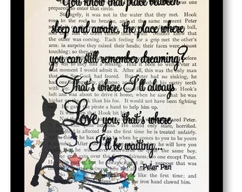 """Peter Pan & Wendy Book Page"""" That's Where I will be Waiting"""" Vintage Peter Pan and Wendy Book Page, Tinkerbell Prints Peter Pan Book Page"""