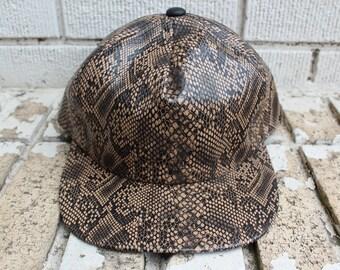 Deadstock LIZARD SKIN Snapback Hat Adjustable Headwear Cold Blooded Outdoor Novelty Southern
