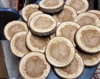"10 Pc 6"" to 7""  Log Slices Wood Disk Rustic Wedding Centerpiece Coaster"