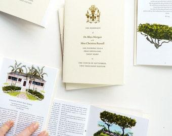 Custom Wedding Program, 24-page illustrated program with gold-foil