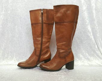 WOMENS BROWN BOOTS High Boots Brown Boots Heels Boots Womens Brown Boots Vintage Boots Genuine Leather Boots