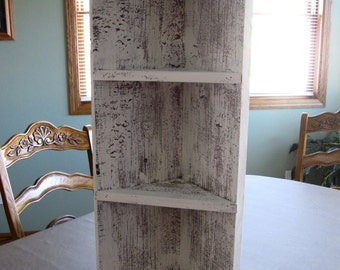 Barnwood whitewashed corner shelf
