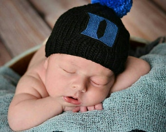 Duke Blue Devil Baby, Duke Basketball Baby Hat, Duke Blue Devils Baby Hat, Newborn Photo Prop, Blue Devils Baby Hat, Hand Knit Baby Hat