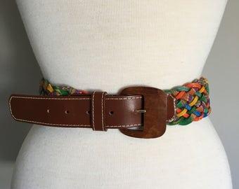 Vintage BOHO BRAIDED BELT/ Colourful Woven Leather Belt/size Medium