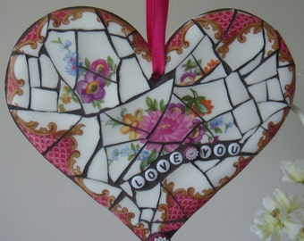 Vintage China Mosaic Heart, Hanging Heart, Gift, Valentines Heart, Mothers day, Love Heart, Romantic gift, Love You Heart, Ornament,