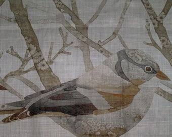 LEE JOFA KRAVET Bird Sanctuary Toile Linen Fabric 10 Yards Amber Slate Grey Brown Multi