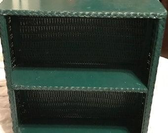 Vintage Bathroom Shelf Retro Green Wicker SALE