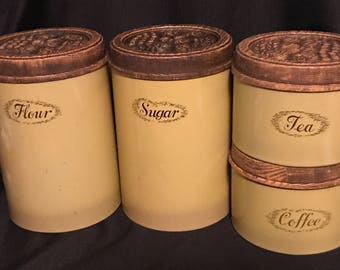 Canisters 1970's Retro Set of 4