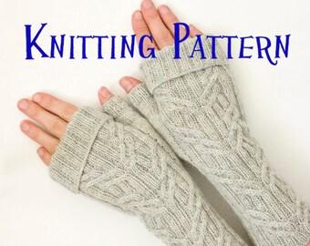 PDF Knitting Pattern - Farmhouse Mitts, Fingerless Gloves Knitting Pattern, Cabled Fingerless Mittens, Wrist Warmers, Arm Warmers