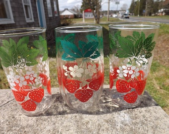 Set of three vintage strawberry themed drinking glasses - slightly different