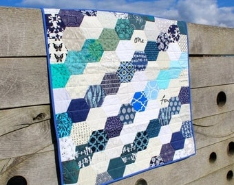 Spring Quilt Sale Traditional Hexagon Patchwork Quilt with Blue and White Modern Fabrics, Lap quilt ,Blanket,  Cot bedding or Sofa throw,