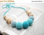 Christmas Sale Aqua Blue Teething Necklace - Nursing necklace - Babywering Breastfeeding necklace - Baby teething toy