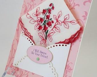 Bleeding Heart Vintage Embroidered Handkerchief Friendship BFF Bridal Shower Gift Thinking Of You Just Because Birthday Keepsake Hankie Card