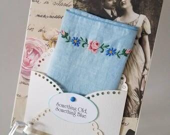 Bridal Wedding Hankie Card Something Blue Happy Tears Keepsake Shower Gift Accessory Handkerchief